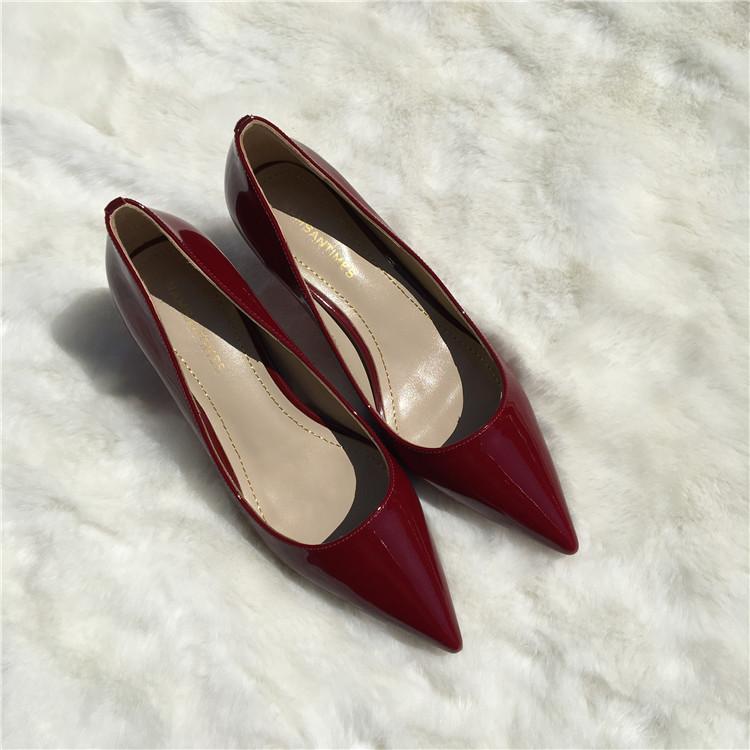 紫色尖头鞋 酒红色牛漆皮尖头高跟鞋 紫色裸色单鞋浅口女鞋小跟鞋6.5厘米新品_推荐淘宝好看的紫色尖头鞋