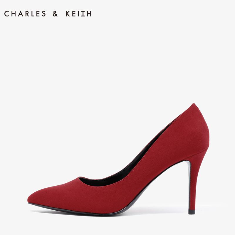 尖头鞋 CHARLES&KEIH婚鞋CK1-60360884红色绒面女士尖头新娘鞋细高跟鞋_推荐淘宝好看的女尖头鞋