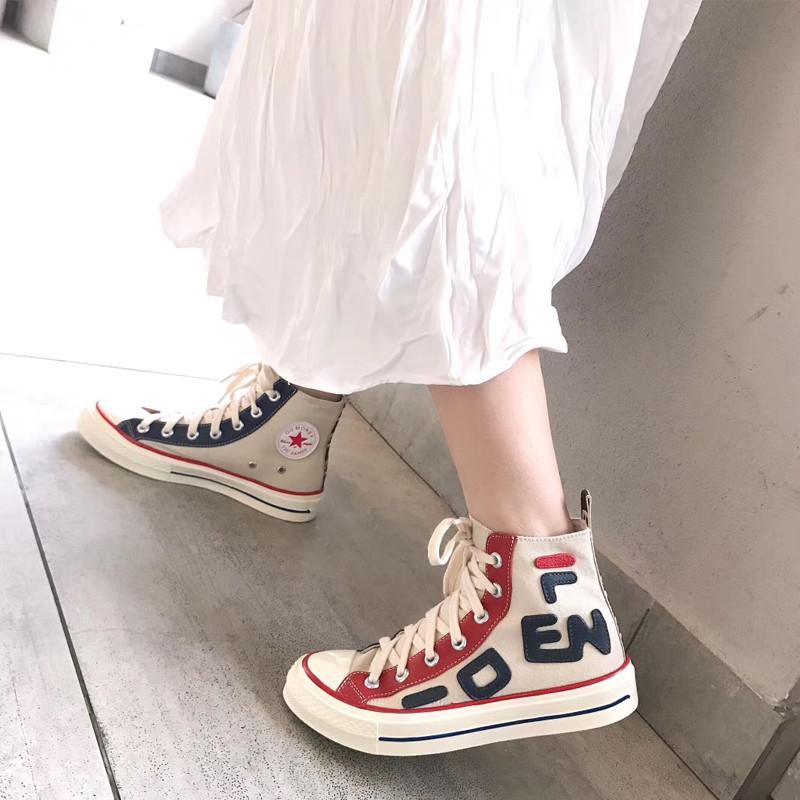 女士高帮鞋 欧洲站高帮帆布白鞋女2020新款休闲鞋字母嘻哈红蓝双色百搭板鞋潮_推荐淘宝好看的女高帮鞋