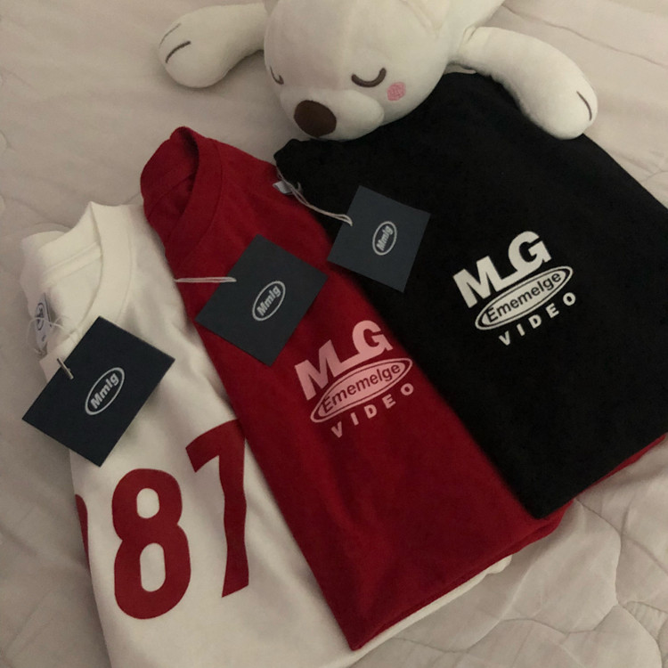 红色T恤 [REコンテナ]20年韩国87mm新款字母MLG印花红色简约情侣棉T恤短袖_推荐淘宝好看的红色T恤