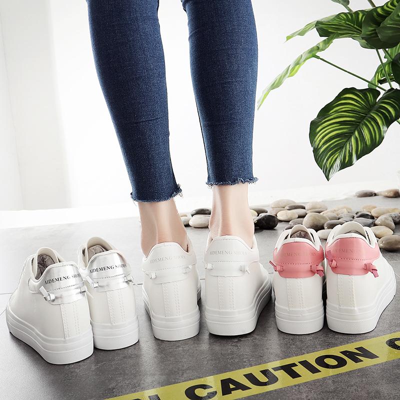 白色松糕鞋 韩版2020年秋季爆款新款小白鞋内增高显瘦百搭透气女松糕白色鞋子_推荐淘宝好看的白色松糕鞋