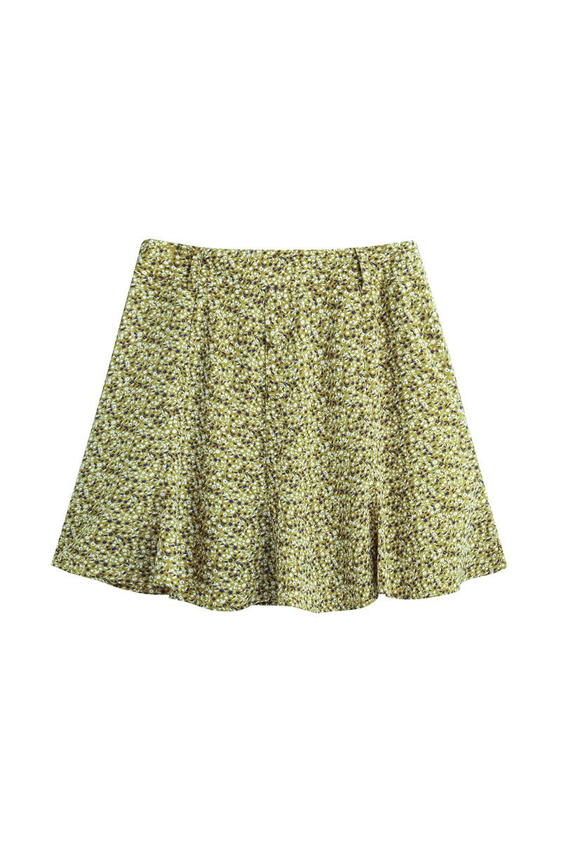 绿色雪纺半身裙 复古碎花半身裙小甜美雪纺印花_推荐淘宝好看的绿色雪纺半身裙