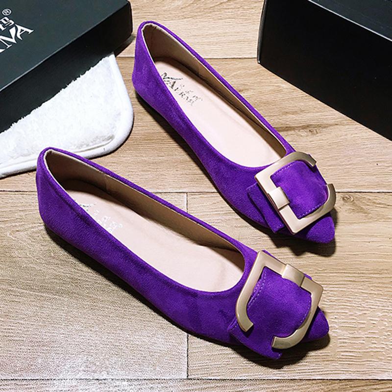 紫色尖头鞋 rv红色平底女尖头单鞋豆豆鞋大码紫色鞋41一43船鞋玫红色女鞋瓢鞋_推荐淘宝好看的紫色尖头鞋