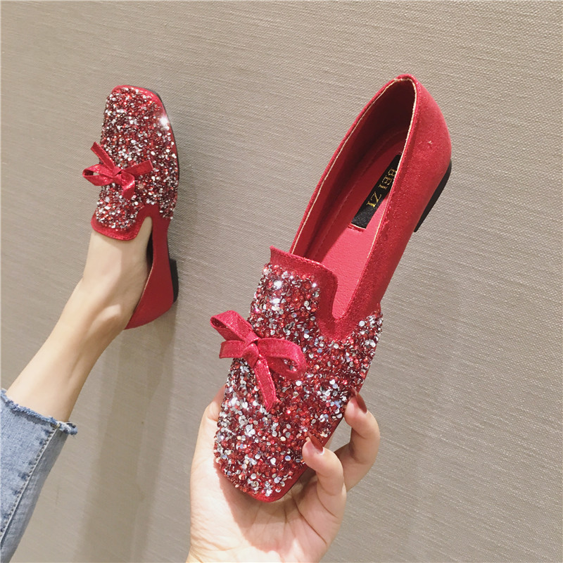红色平底鞋 女鞋平底单鞋2021春季百搭韩版红色孕妇婚鞋亮片秀禾服伴娘敬酒鞋_推荐淘宝好看的红色平底鞋