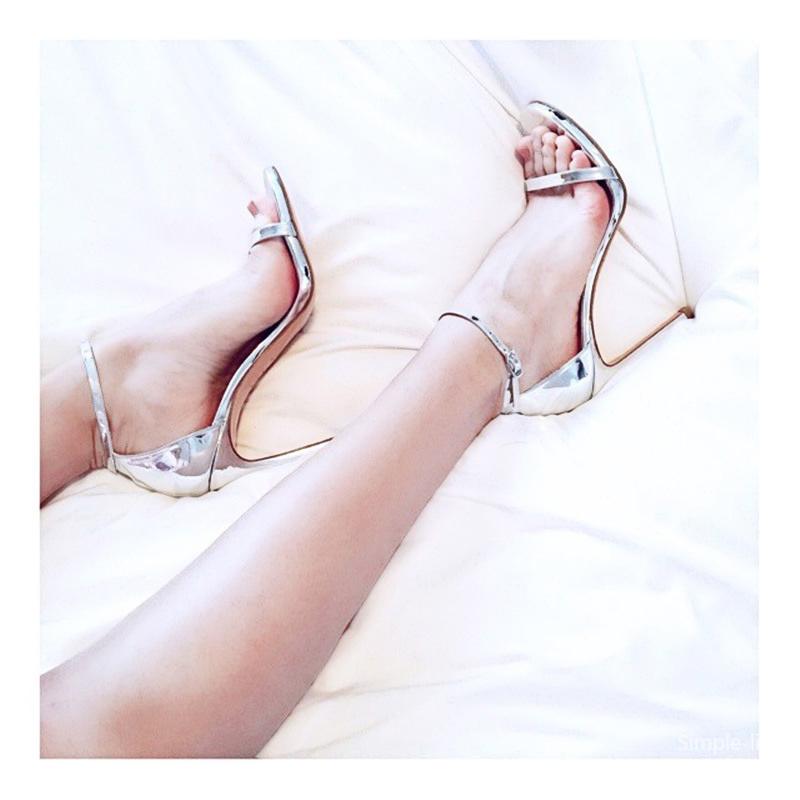 鱼嘴性感高跟鞋 2020新款银色高跟鞋凉鞋女夏一字带扣细跟黑色露趾性感细带女鞋_推荐淘宝好看的鱼嘴性感高跟鞋
