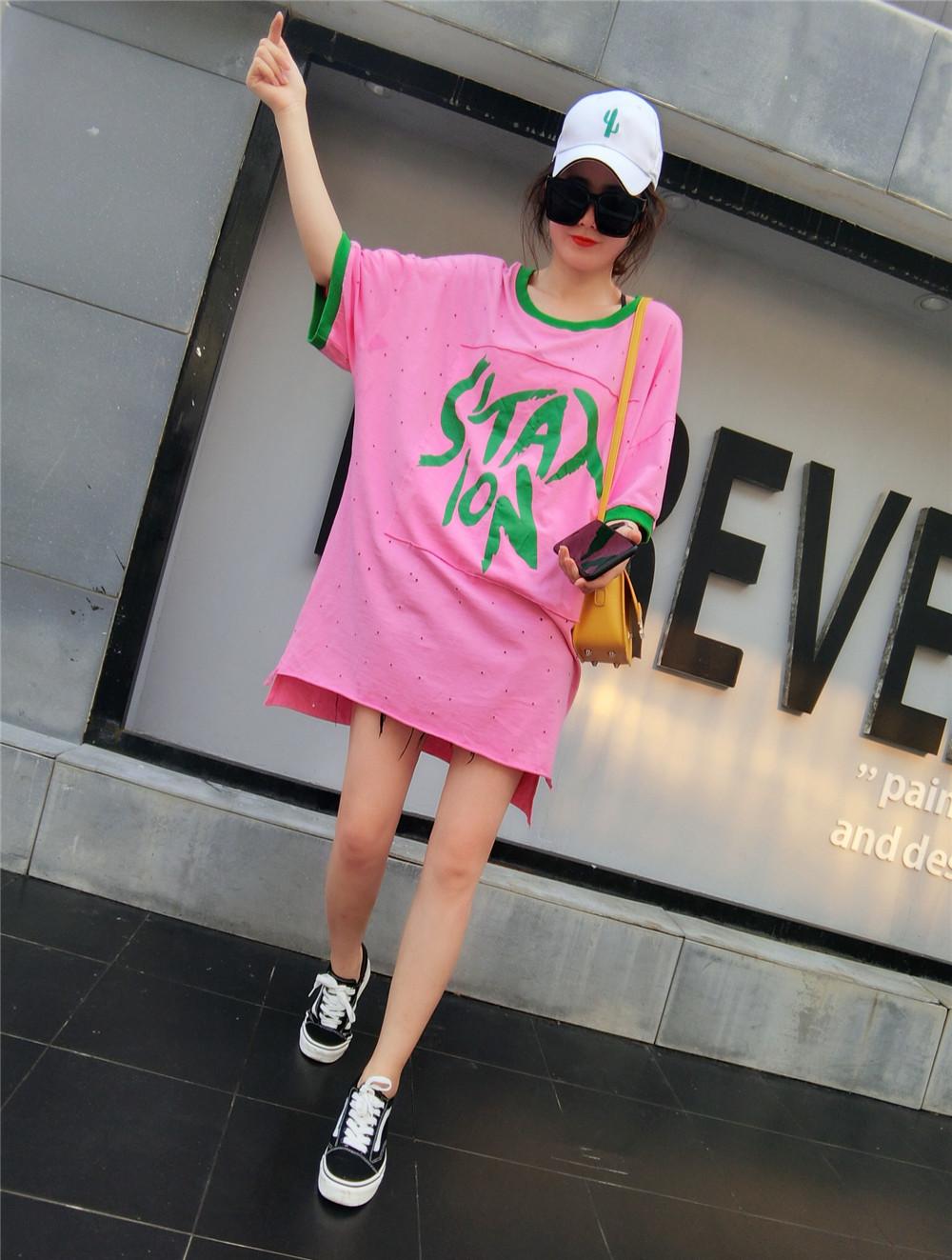 个性t恤 2018新款韩国夏季女装字母印花T恤时尚个性中长款韩范短袖上衣女_推荐淘宝好看的女个性t恤