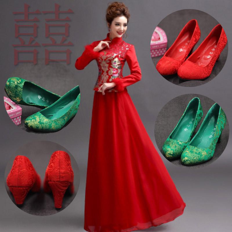 绿色高跟鞋 结婚鞋过门上轿鞋红鞋新娘鞋绿色孕妇鞋高跟低跟礼服鞋婚宴敬酒鞋_推荐淘宝好看的绿色高跟鞋