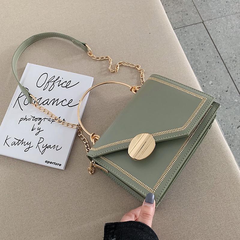 绿色链条包 洋气小包包女2020夏季新款时尚手提韩版单肩包百搭斜挎链条小方包_推荐淘宝好看的绿色链条包