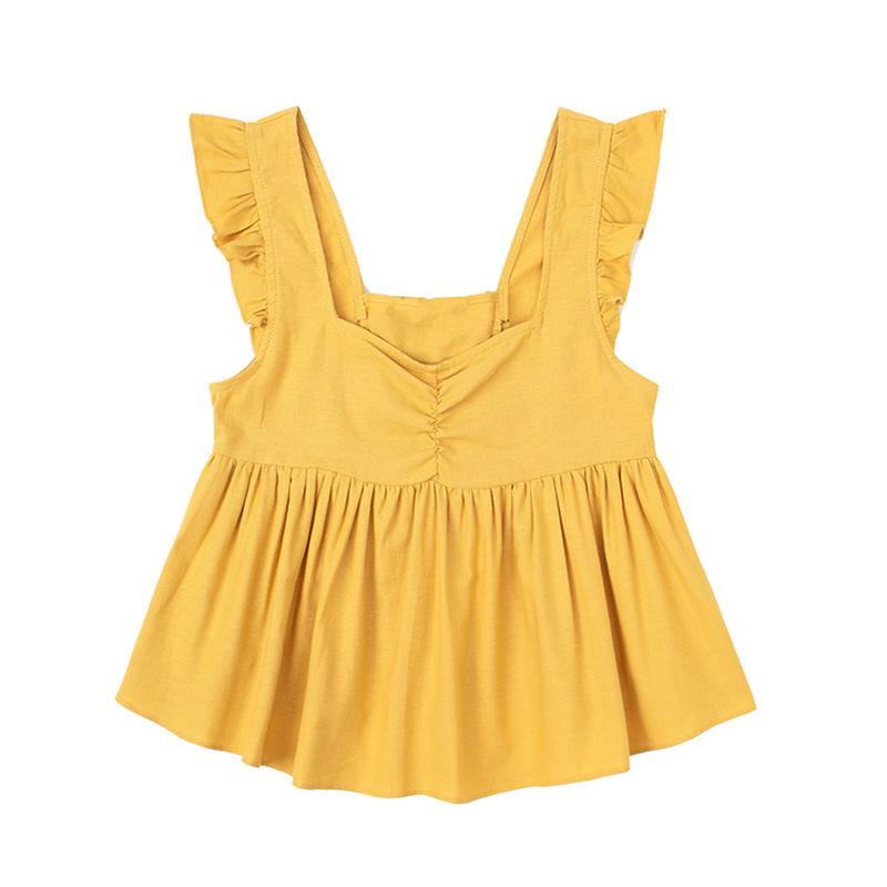 黄色背心 JIN自制 夏黄色木耳边绑带法式复古宽肩带背心显瘦百搭减龄吊带衫_推荐淘宝好看的黄色背心