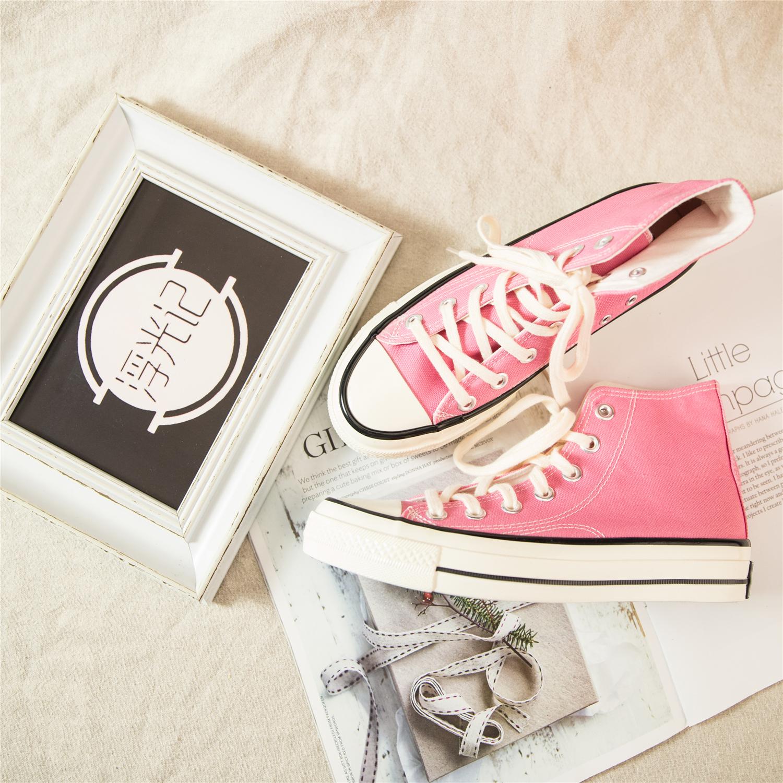 粉红色帆布鞋 ins春季新款ulzzang帆布鞋粉红色高帮韩版潮百搭chic风女学生板鞋_推荐淘宝好看的粉红色帆布鞋