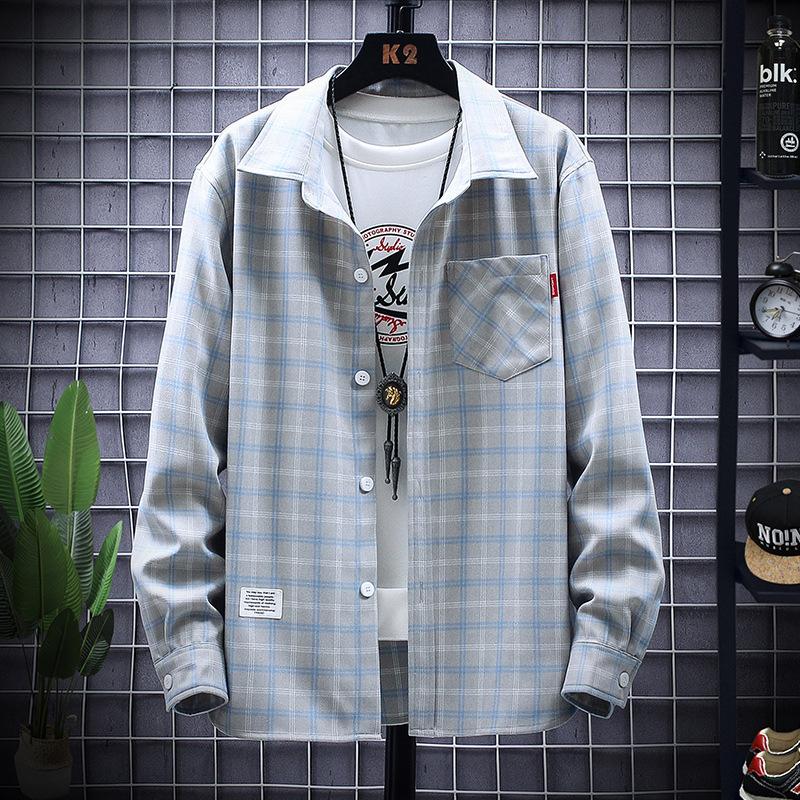 格子男式衬衫 春季休闲蓝色格子衬衫男宽松长袖上衣翻领寸衫薄款男式寸衣韩版潮_推荐淘宝好看的格子男式衬衫