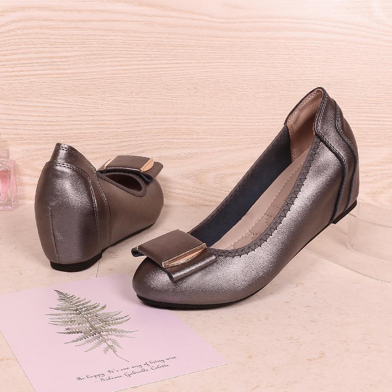 百丽单鞋 工作鞋黑色职业2020新款春季皮鞋内增高小码女鞋31 32 33坡跟单鞋_推荐淘宝好看的百丽单鞋