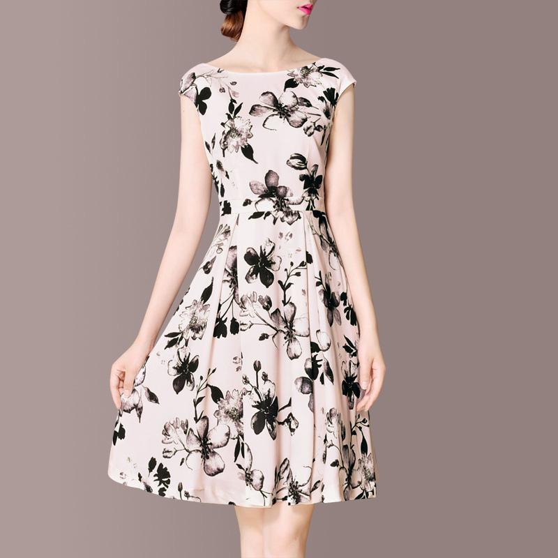 淘宝商城连衣裙 夏装新款冷淡风裙子2021女气质修身显瘦无袖复古印花连衣裙中长款_推荐淘宝好看的连衣裙