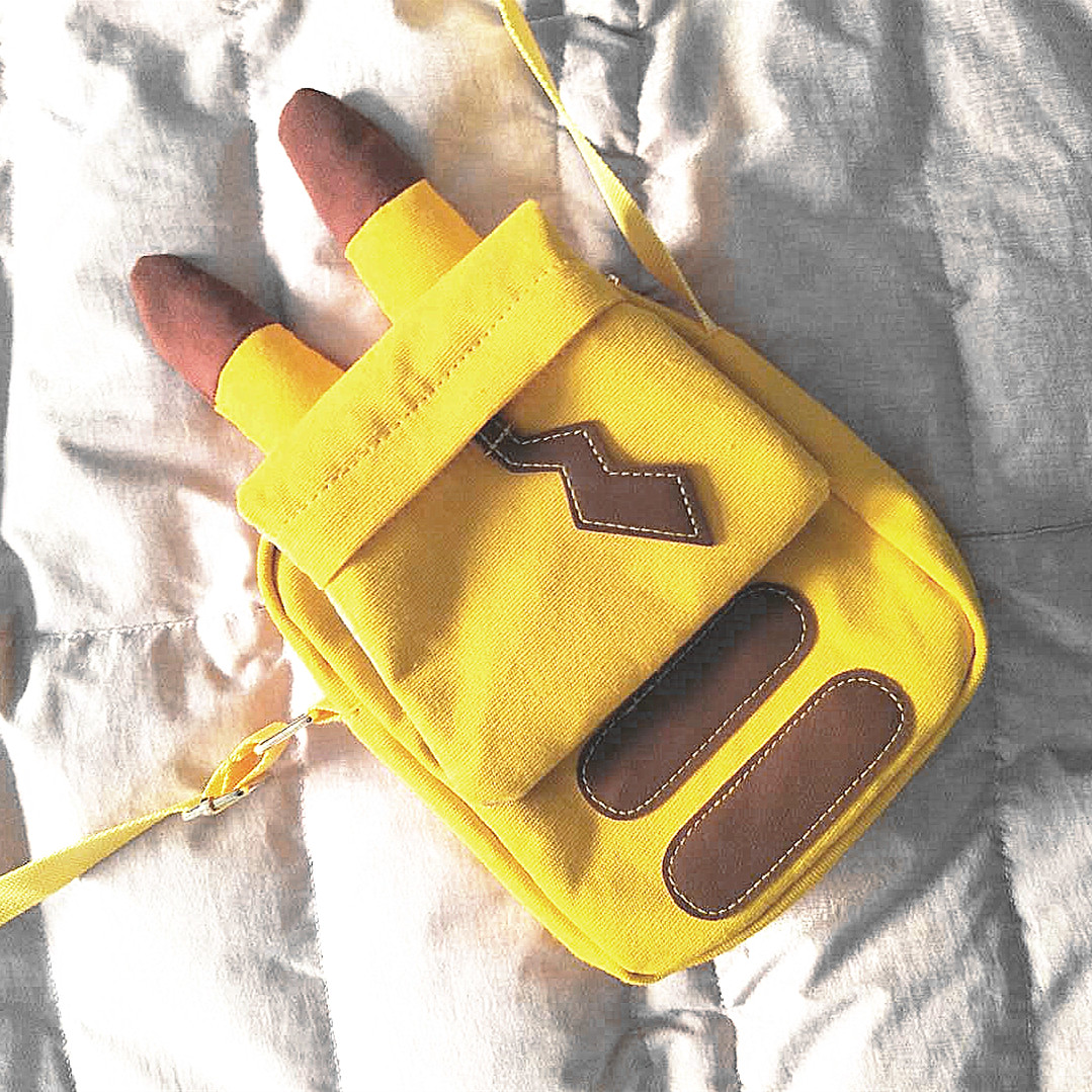 黄色斜挎包 日系可爱软妹卡通包包动漫黄色皮卡丘少女软萌斜挎单肩帆布包小包_推荐淘宝好看的黄色斜挎包