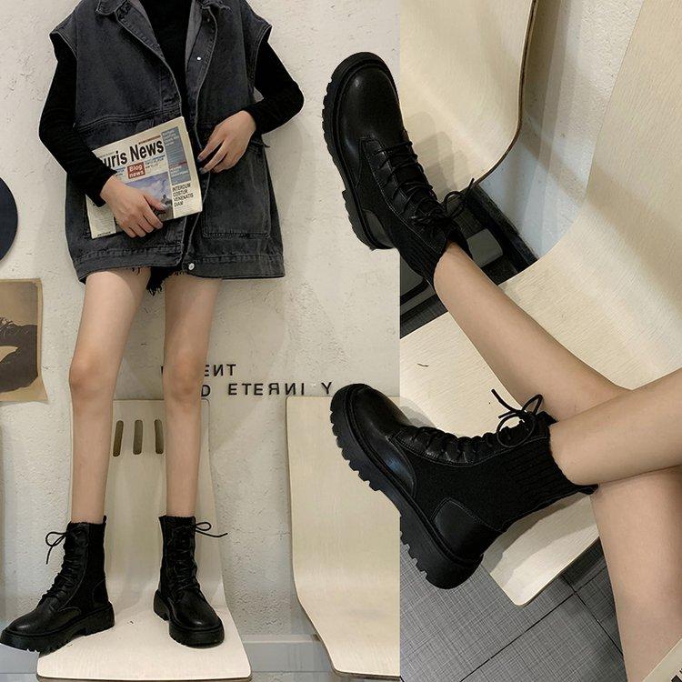 英伦短靴 新款马丁靴2020秋冬靴子厚底帅气英伦风机车靴女袜靴粗跟瘦瘦短靴_推荐淘宝好看的女英伦短靴