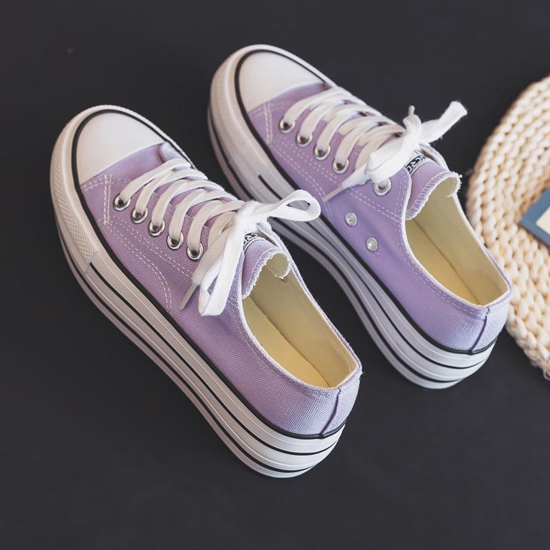 紫色厚底鞋 2020新款香芋紫色厚底增高松糕跟帆布鞋女韩版百搭低帮板鞋潮鞋子_推荐淘宝好看的紫色厚底鞋