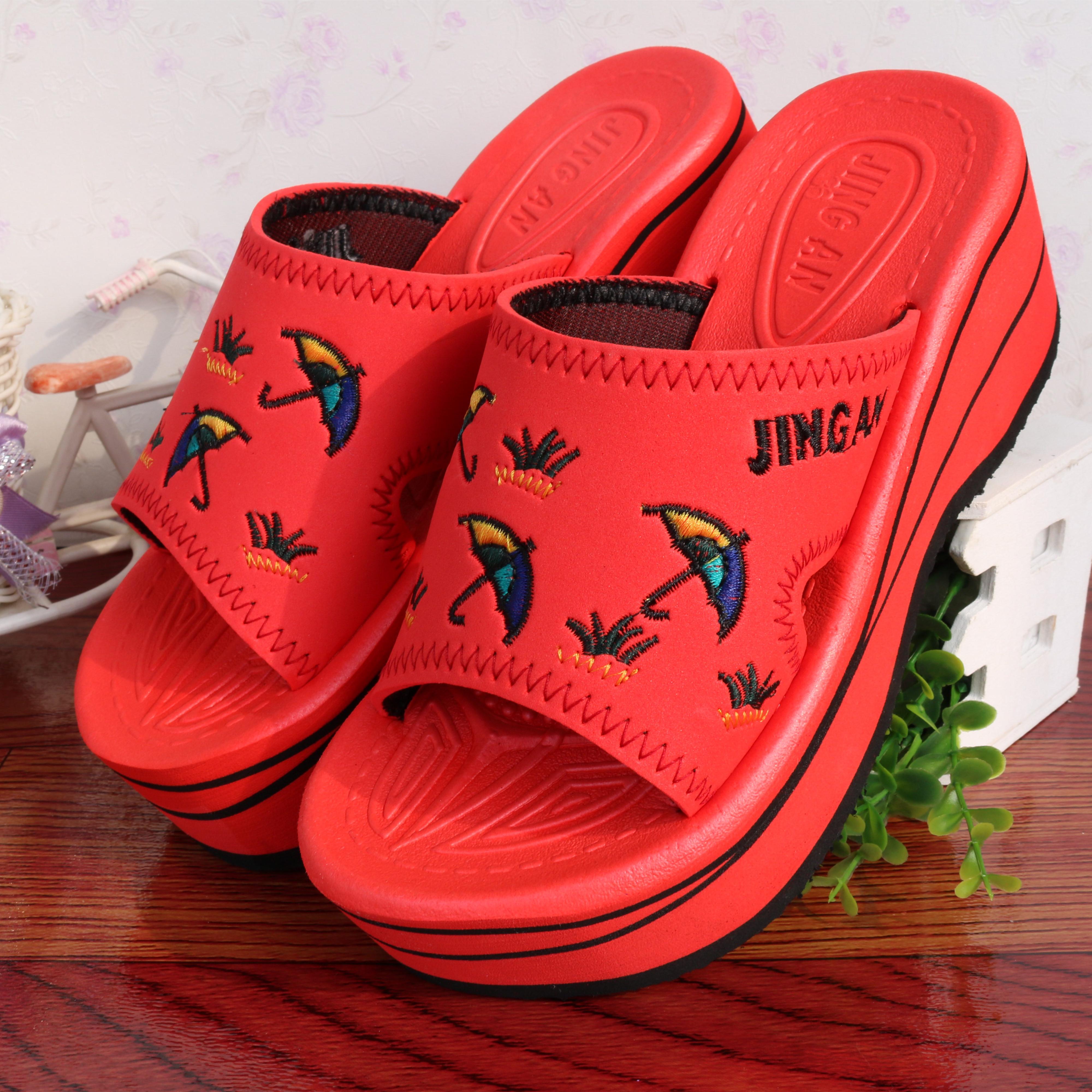 红色坡跟鞋 新款小雨伞坡跟拖鞋加厚松糕底女鞋女增高家居鞋女红色高跟鞋正品_推荐淘宝好看的红色坡跟鞋