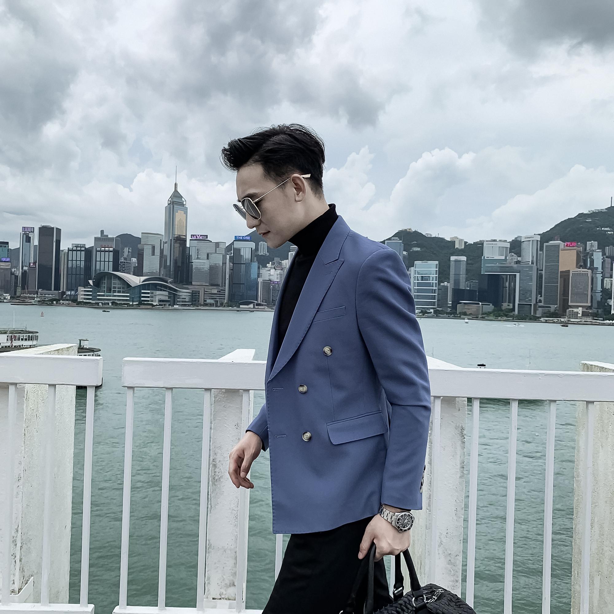 绿色小西装 【DAIO MENS】韩国男英伦绅士修身双排扣韩版小西装纯色百搭气质_推荐淘宝好看的绿色小西装