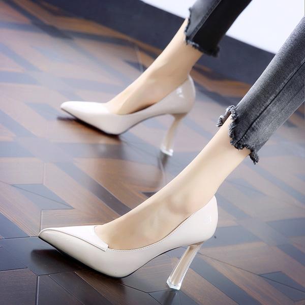漆皮高跟单鞋 2020春季漆皮简约通勤上班高跟鞋尖头时尚粗跟女鞋显瘦四季单鞋潮_推荐淘宝好看的女漆皮高跟单鞋