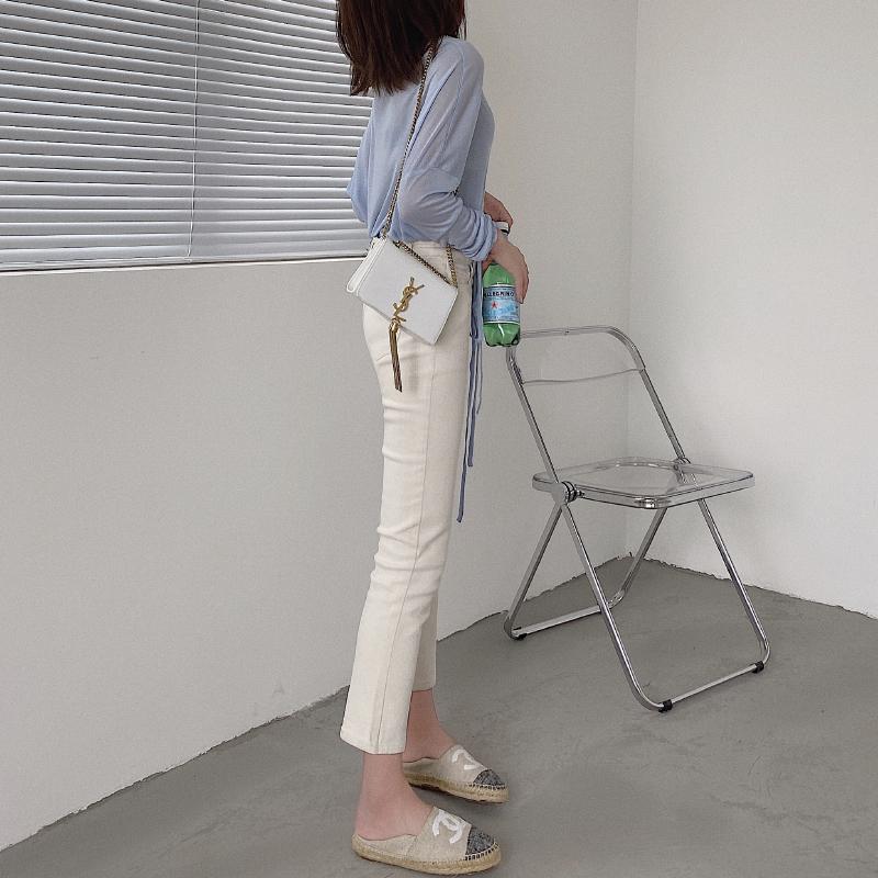 白色牛仔裤 2021新款小直筒高腰显瘦八分裤女薄款白色牛仔裤修身烟管小脚裤子_推荐淘宝好看的白色牛仔裤