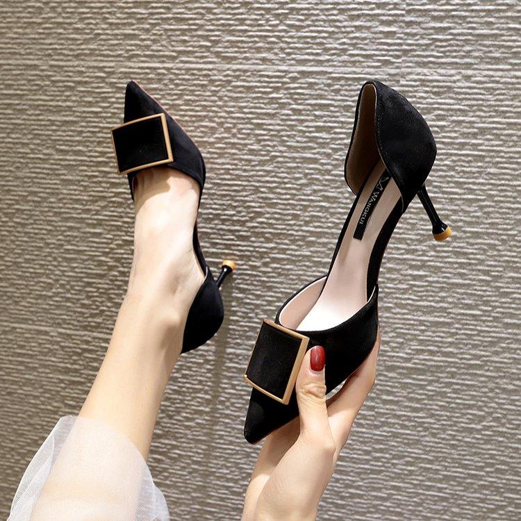 夏季高跟鞋 2020夏季新款高跟鞋百搭性感细跟法式少女尖头浅口单鞋女中空女鞋_推荐淘宝好看的女夏季高跟鞋