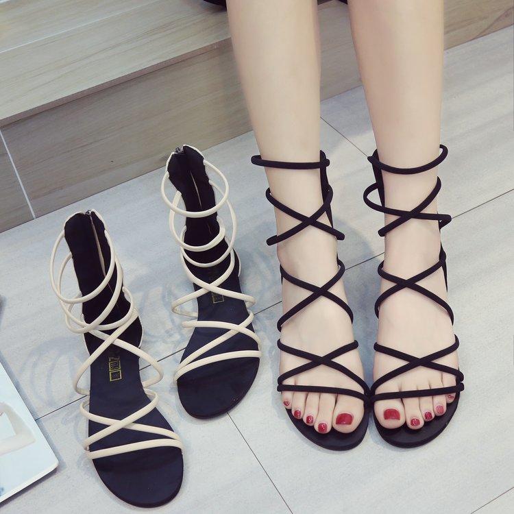 达芙妮罗马鞋 鞋子女2020新款罗马凉鞋女交叉绑带沙滩平底露趾波西米亚度假女鞋_推荐淘宝好看的达芙妮罗马鞋