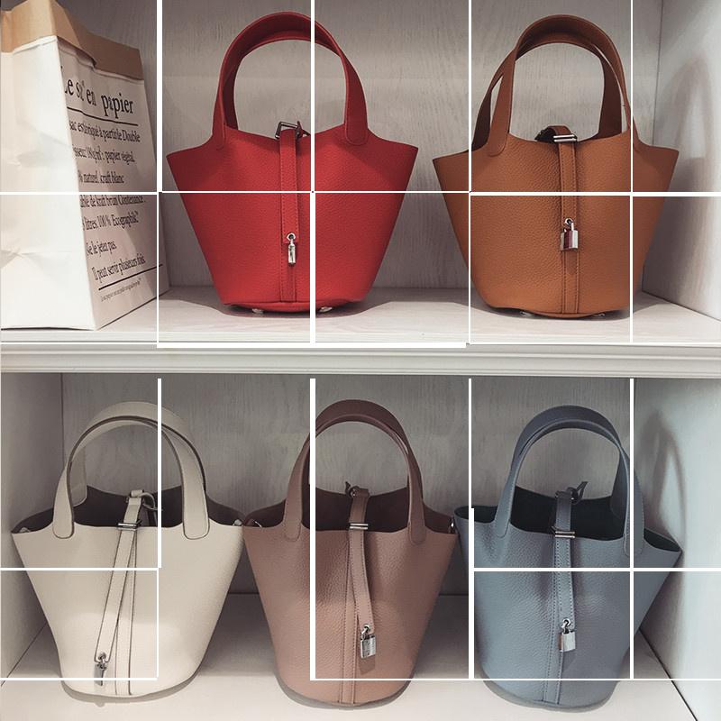 欧美手提包 手拎包女小包手提包2020新款夏欧美时尚菜篮子包荔枝纹简约水桶包_推荐淘宝好看的女欧美手提包