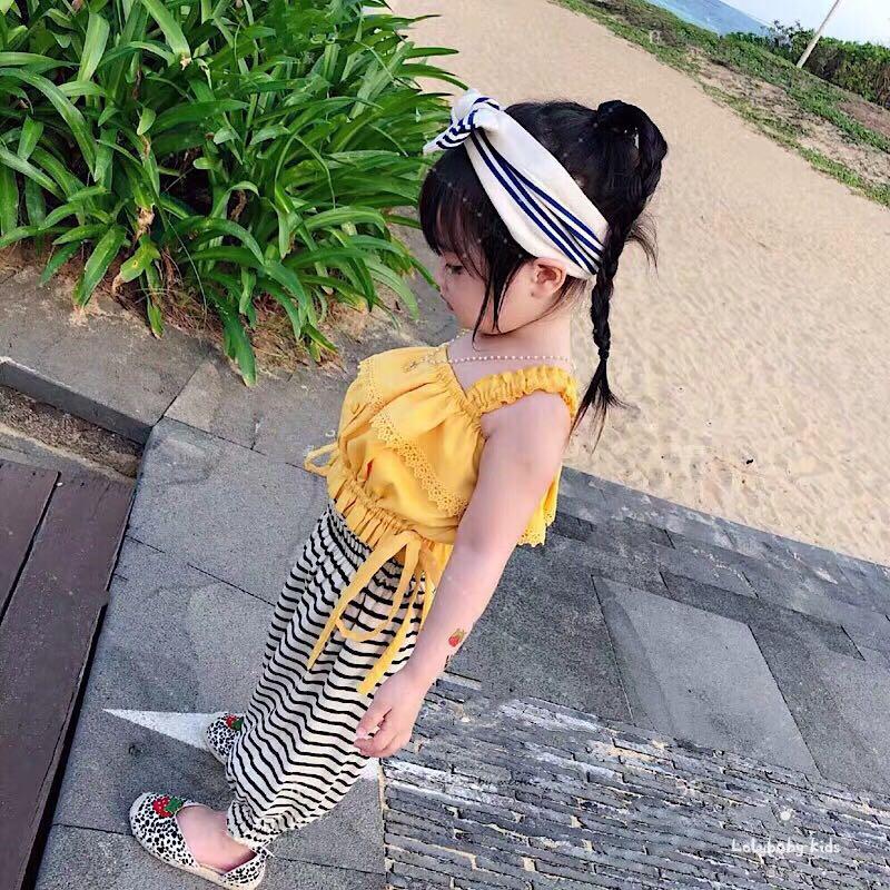 吊带小背心 墨宝童装女童吊带上衣夏季姜黄色荷叶边背心小女孩纯棉短款上衣_推荐淘宝好看的女吊带小背心