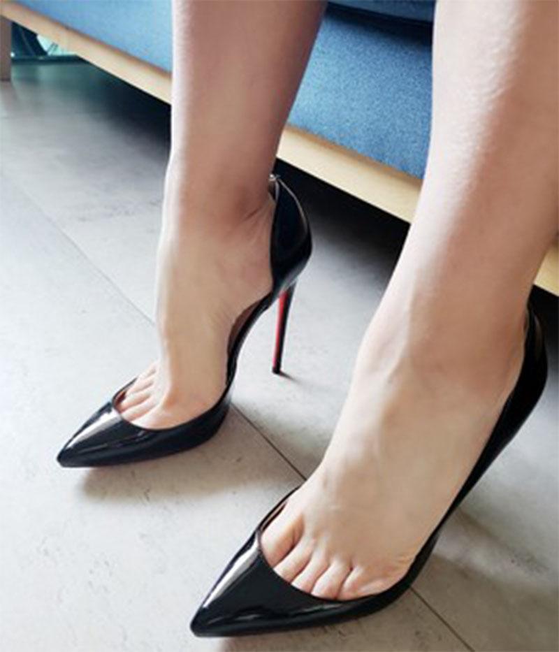 尖头高跟单鞋 百搭尖头女高跟鞋侧空超浅口细跟12cm大码单鞋 女鞋 ifashion_推荐淘宝好看的女尖头高跟单鞋