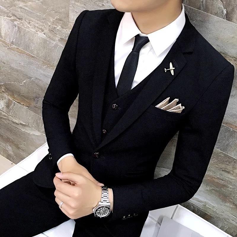 男士结婚西装 潮流韩版修身休闲正装西服套装男新郎帅气结婚礼服学生伴郎小西装_推荐淘宝好看的男结婚西装