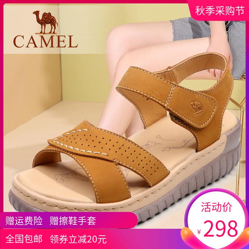女凉鞋 Camel骆驼女鞋 夏季舒适休闲牛皮中跟厚底时尚青年女式凉鞋潮子_推荐淘宝好看的女凉鞋