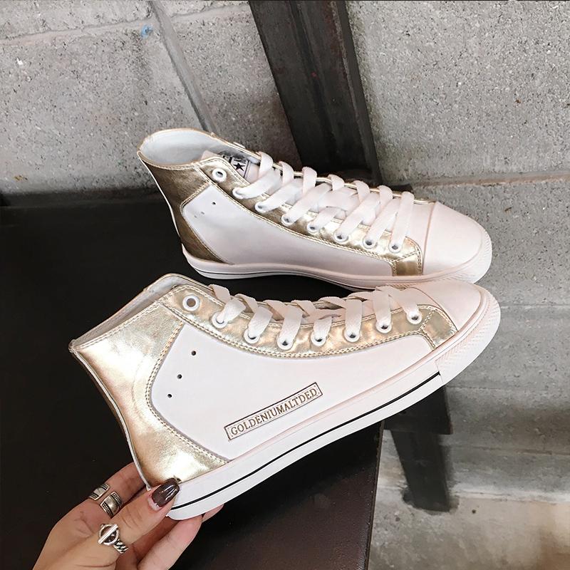 白色单鞋 真皮高帮鞋女2019新款白色板鞋韩版牛皮休闲单鞋春季平底女小白鞋_推荐淘宝好看的白色单鞋