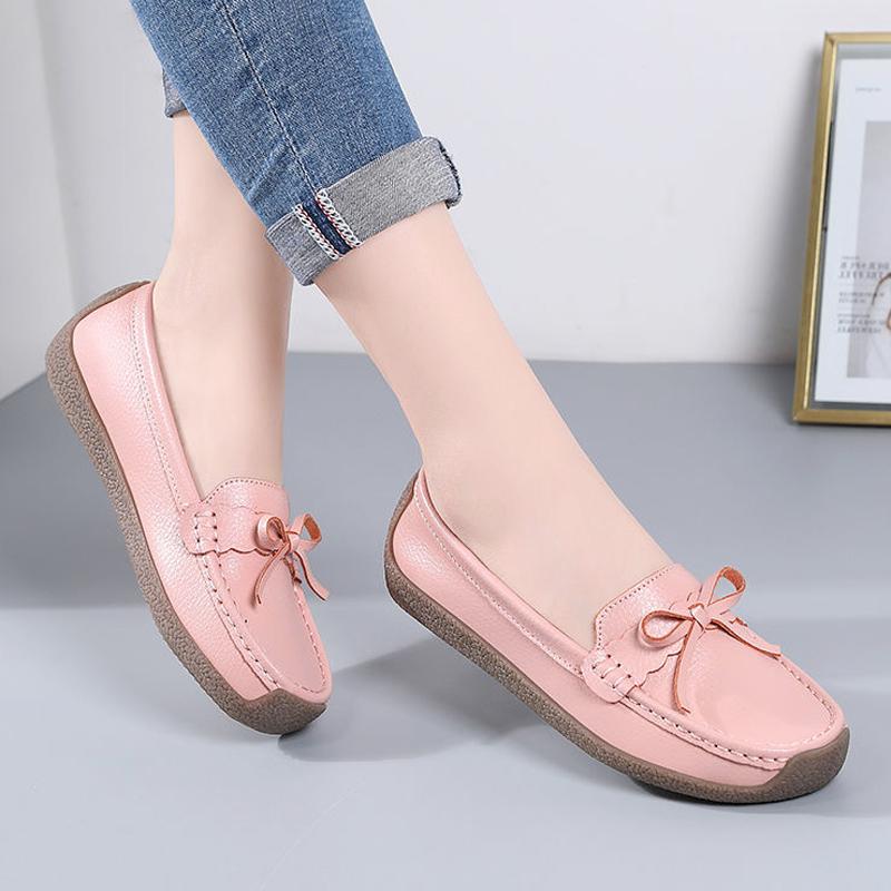 紫色豆豆鞋 真皮豆豆鞋女秋季百搭懒人鞋牛皮软底平跟妈妈奶奶鞋紫色粉色棕色_推荐淘宝好看的紫色豆豆鞋