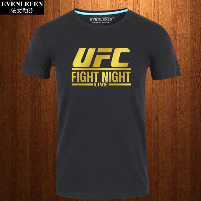淘宝男士t恤 UFC终极格斗冠军赛T恤短袖男士拳击武术上衣服纯棉半截袖夏体恤衫_推荐淘宝好看的男t恤