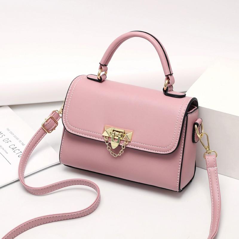 粉红色斜挎包 袋鼠小时尚粉红色少女心小方包真牛软皮手提包简约质感单肩斜挎包_推荐淘宝好看的粉红色斜挎包