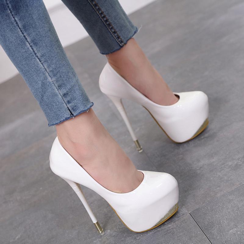 夜店性感高跟鞋 夏新款超高跟20cm细跟18cm单鞋性感夜店女鞋大码43恨天高16cm_推荐淘宝好看的夜店性感高跟鞋