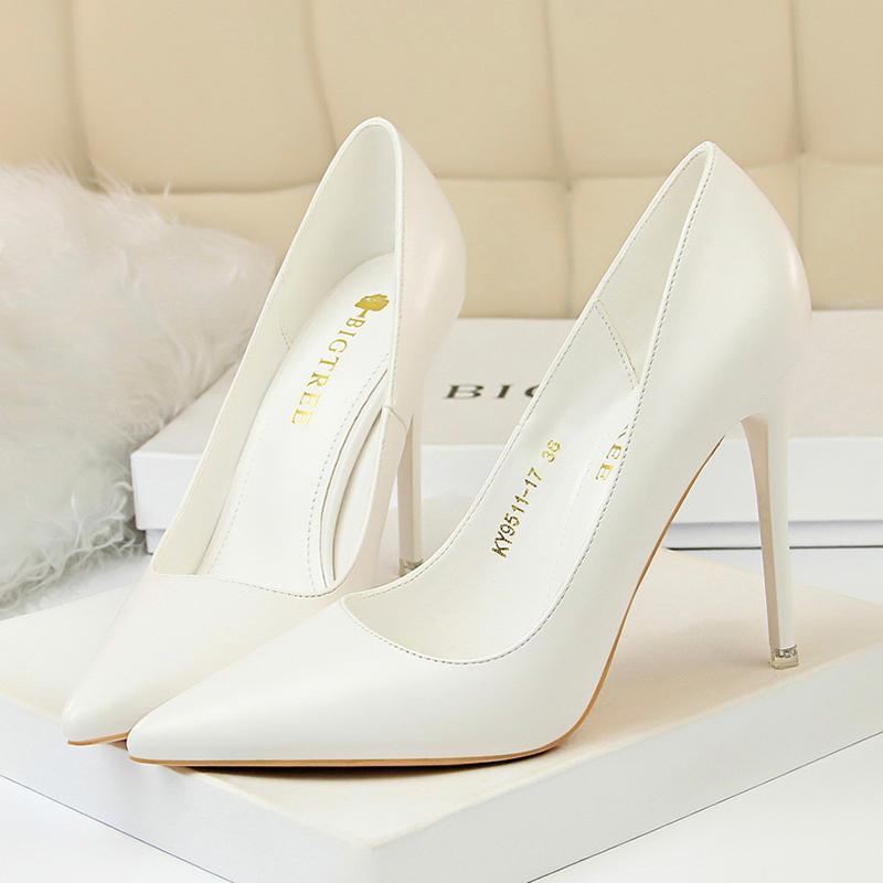 黄色单鞋 10cm细跟尖头单鞋白色黑色黄色工作网红高跟鞋2020春秋新款糖果色_推荐淘宝好看的黄色单鞋