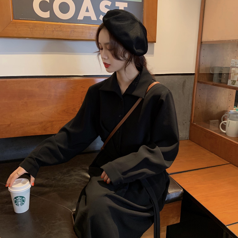 韩版长袖连衣裙 长袖黑色小仙气质韩版女神显瘦修身衬衫复古连衣裙可可里小姐_推荐淘宝好看的韩版长袖连衣裙