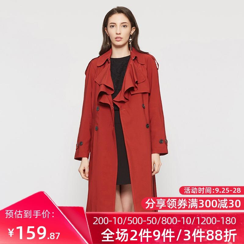 艾格风衣 艾格春秋季女装百搭系带束腰中长款风衣外套W509_推荐淘宝好看的艾格风衣