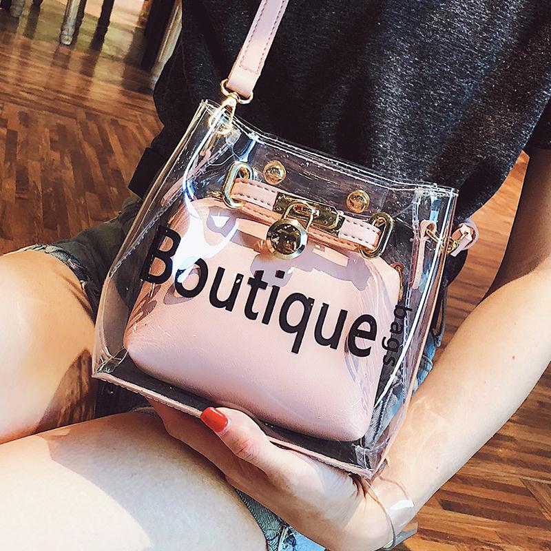 透明糖果包 高级感小包包女2020夏天新款网红洋气时尚果冻透明斜挎糖果水桶包_推荐淘宝好看的透明糖果包