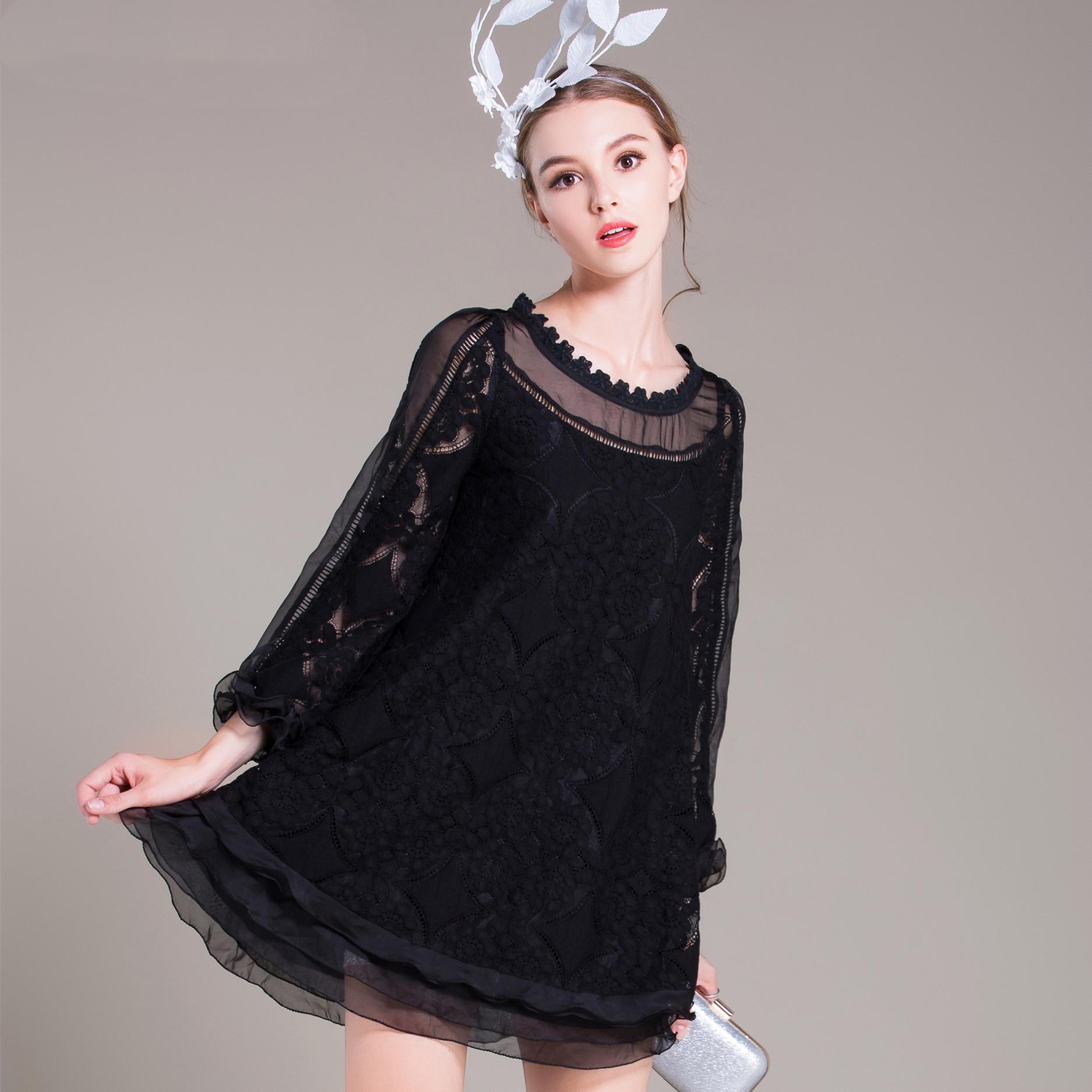 蕾丝连衣裙新款 2021春夏新款高端原创名媛显瘦长袖圆领大码女装蕾丝连衣裙91890_推荐淘宝好看的蕾丝连衣裙新款