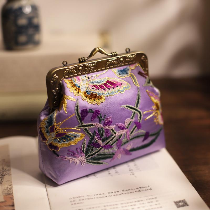 紫色手提包 雅集2020春夏新款苏绣刺绣紫色蝶恋花汉服旗袍古风斜跨手提女包包_推荐淘宝好看的紫色手提包