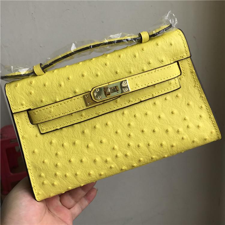 黄色迷你包 新款黄色鸵鸟纹凯莉包牛皮手拿包mini迷你真皮女包单肩斜挎小包包_推荐淘宝好看的黄色迷你包