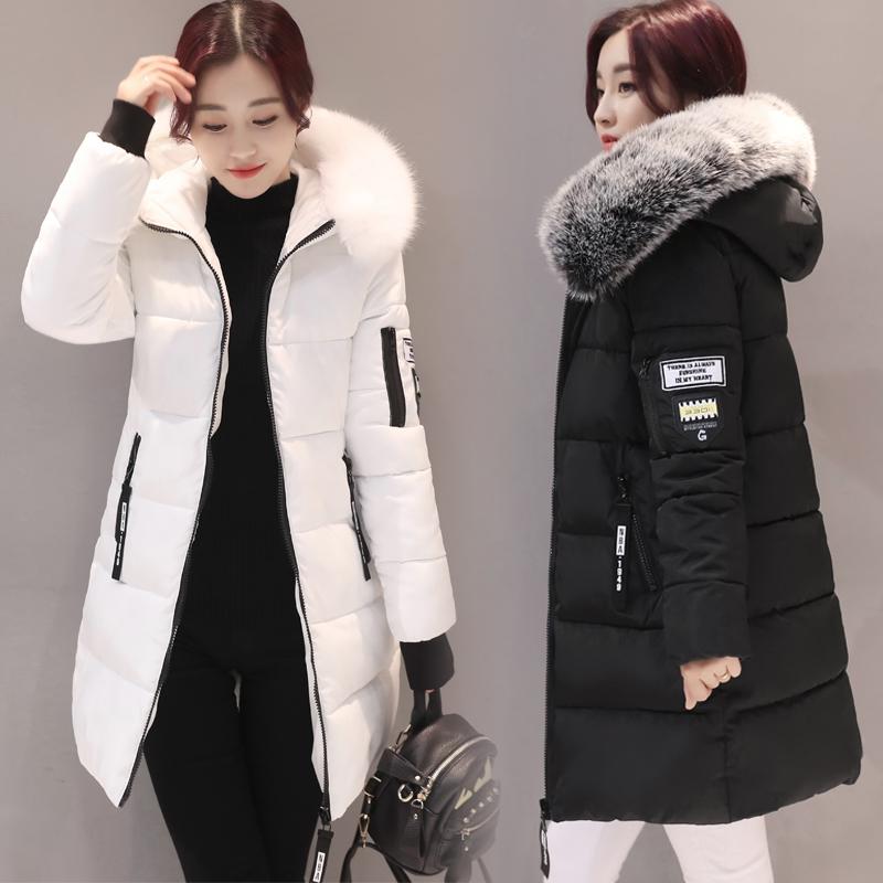 白色冬装 羽绒棉服女中长款冬装2019年新款韩版宽松棉衣加厚修身棉袄外套女_推荐淘宝好看的白色冬装