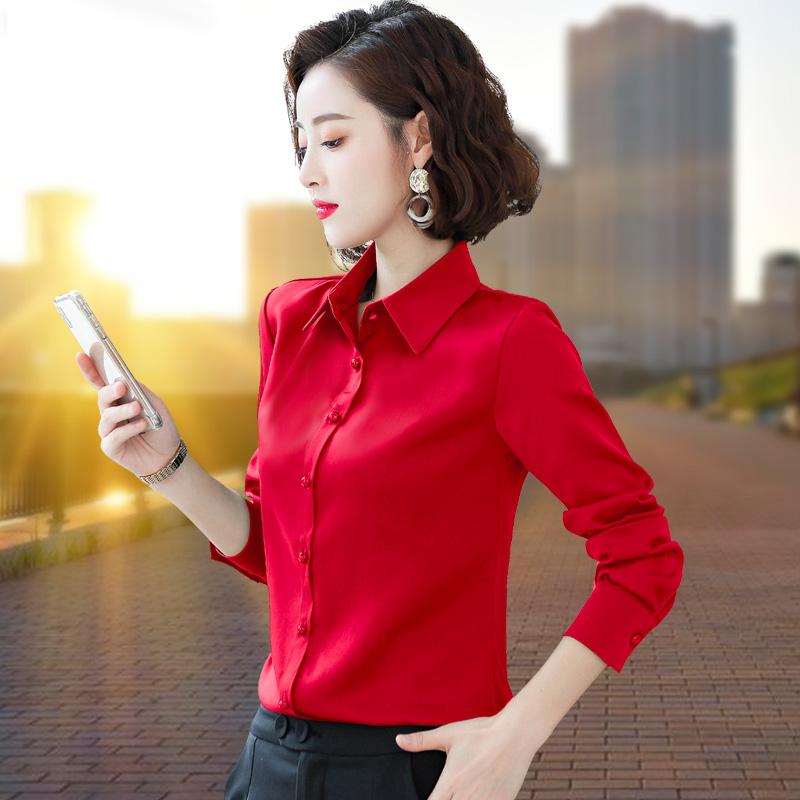 红色雪纺衫 职业雪纺衬衫女长袖秋装2021新款红色衬衣洋气上衣缎面时尚打底衫_推荐淘宝好看的红色雪纺衫