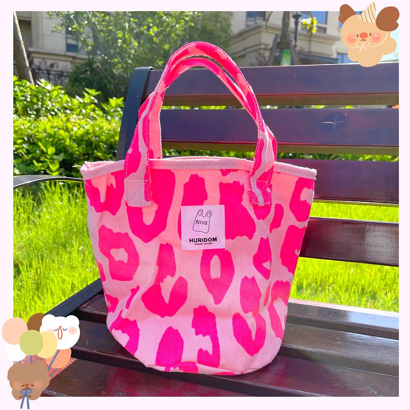 粉红色帆布包 21新款韩国东大门韩版粉红色豹纹包大容量托特包帆布包女手提包_推荐淘宝好看的粉红色帆布包