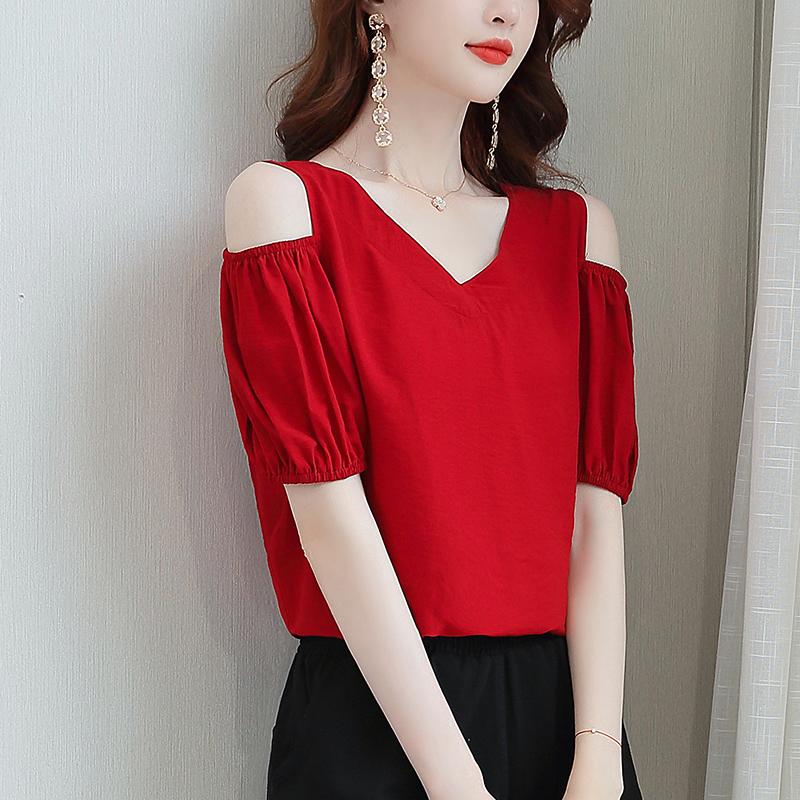 红色雪纺衫 2021年夏季新款遮肚子洋气高端小衫洋气女时尚V领露肩红色雪纺衫_推荐淘宝好看的红色雪纺衫