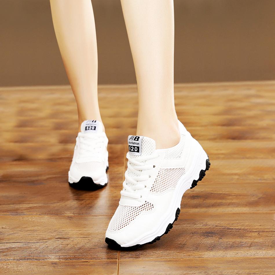 运动鞋 春夏季网纱透气小白鞋女休闲运动鞋韩版初中学生板鞋女跑步球鞋女_推荐淘宝好看的女运动鞋