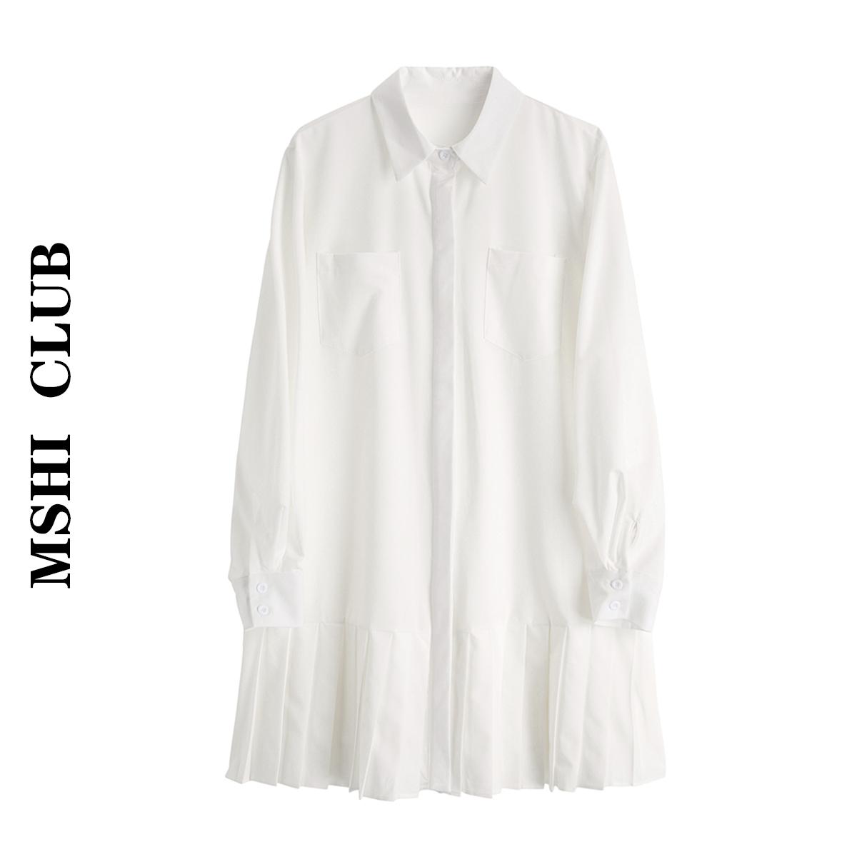 白色连衣裙 【现货】春装长袖POLO领衬衫裙百搭中长款白色连衣裙学院风百褶裙_推荐淘宝好看的白色连衣裙