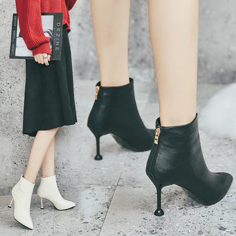 靴子 软皮小短靴女秋冬季细跟2019年新款百搭小跟裸靴单靴瘦瘦靴子秋款_推荐淘宝好看的女靴子